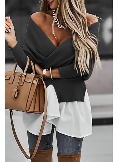 BLACK&GRACE Kadın Taba Altı Dokuma Garnili Sırt Detaylı Bluz Siyah